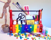 rainbow striped upcycled toolbox-- store art supplies, skittles, whatever your heart desires...