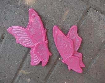 upcycled sparkling pink butterflies - syroco type wall hangings