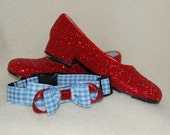 Dog Collar & Leash Set:  Designer Dorothy Wizard of Oz Blue Gingham and Red Glitter Bow