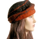 SALE UP TO 20% Asymetrical orange red and black felt woman beret