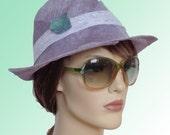 Summer fashion, modern lavandel and white woman panama sun hat