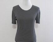 Vintage Black & White Striped Frenchie Top // Scoop Neck