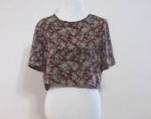 Vintage Maroon Floral Silk Cropped Top