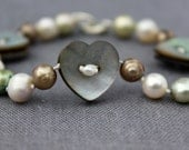 Heart Button Bracelet - mother of pearl buttons and freshwater pearls