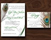 "DIY Rustic Peacock Wedding Invitation 5""x7"" (Digital ready-to-print PDF file)"