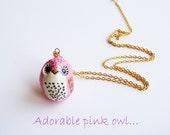 Adorable pink owl - wearable art - original clay pendant - hand painted miniature - owl pendant