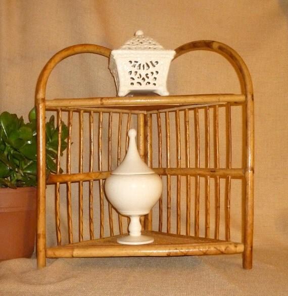 Vintage Bamboo Corner Shelf