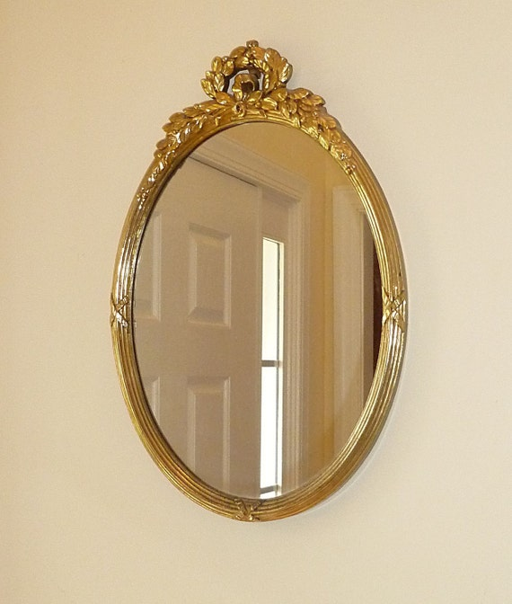 Oval mirror with gold french style frame by kateandcarol for Oval mirror canada