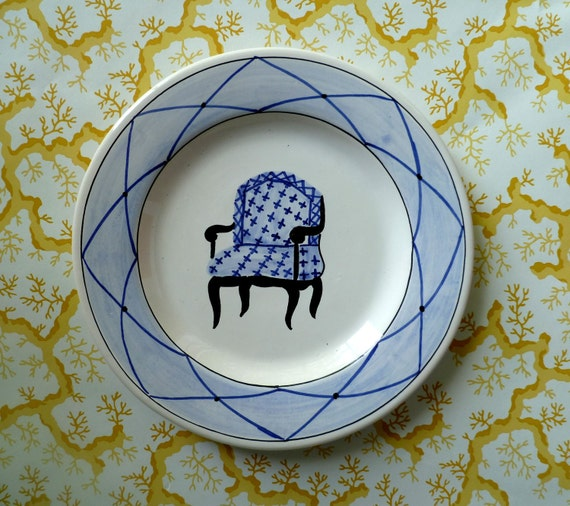 Handpainted Decorative Dish with Blue Chair and Blue Border Made in Portugal