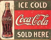 Cross Stitch Pattern - Retro Coca Cola Sign - PDF - Instant Digital Download - SALE
