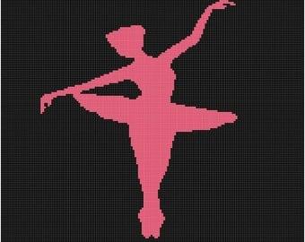 Cross Stitch Pattern - Ballerina Silhouette PDF -  Instant Digital Download