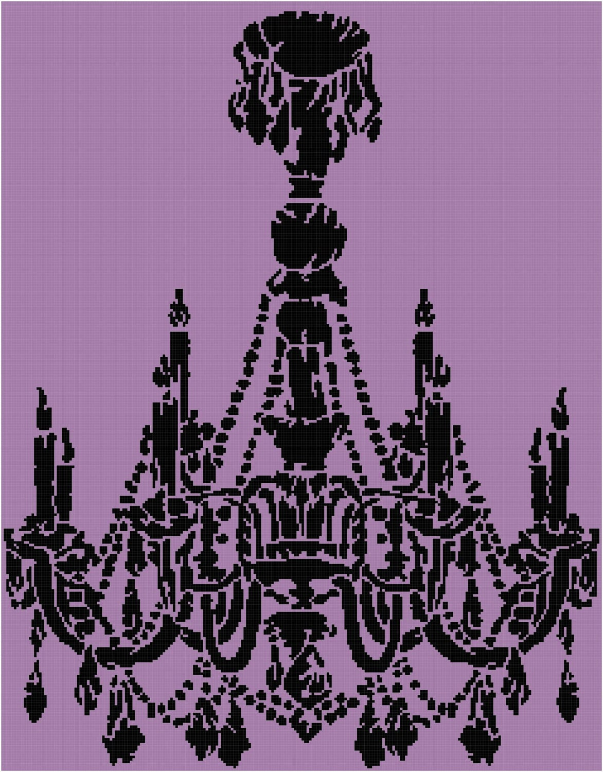 Cross Stitch Pattern Chandelier Silhouette 2 PDF