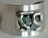 Jacob Hull Silver Modernist Jade Cuff Bracelet