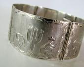 Vintage Mexican Silver Etched Bracelet