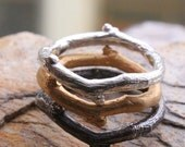 Twiggy ring, stackable sterling silver with gold vermeil, oxidized, or pure silver.