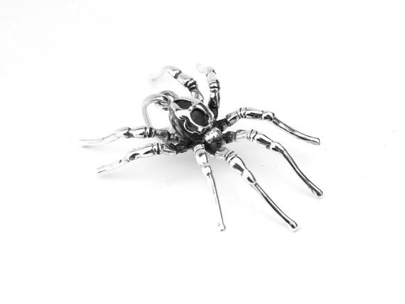 RESERVED FOR IVY     Deep Dark, sterling silver spider pendant.