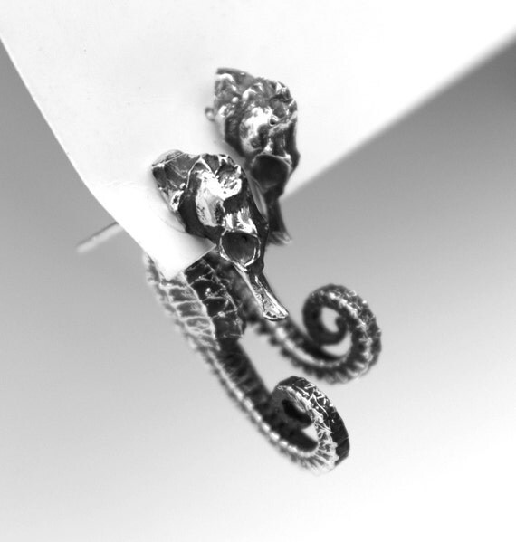 The Seahorse Dream, unique sterling silver earrings.