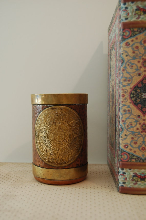 Handmade Central American 2012 Mayan Calendar Mug Copper Brass
