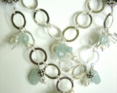 STERLING Chain AQUAMARINE, Pearls, Swarovski Crystal, SS Spacers