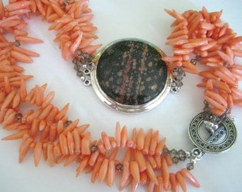 CORAL Daggers with JASPER Medallion in Sterling Silver and Crystals