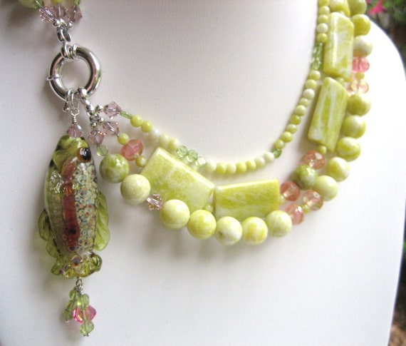 LAMPWORK Focal Fish Bead Pendant on Lemon JADE with Czech Glass and Crystals