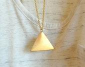 gold triangle pendant necklace - geometric jewelry - minimalist