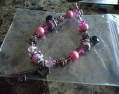 Charm Bracelet With Key Charms In Pink Girly Shabby Chic Inspired