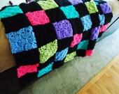 Patchwork Afghan Baby Throw Colorful Crochet Lapghan Blanket Ooak