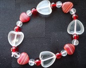 Beaded Red Bracelet - Cut Glass Hearts - Queen Of Hearts - LOVE Bracelet