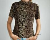Vintage 90s Spandex Cheetah High Collar Top