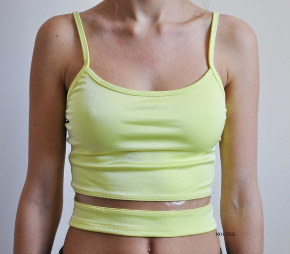 Vintage 90s Acid Yellow Cropped Tank with Clear Strip