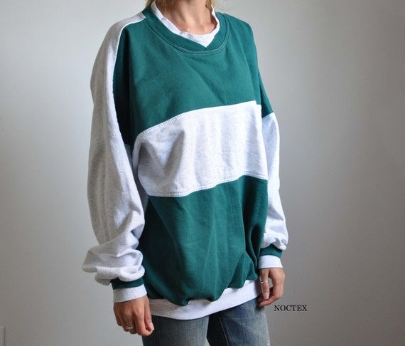 CLRNCE: Vintage 90s Unisex Grey and Green Baggy Pullover