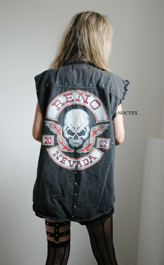 SALE: Oversize Motor Skull Black Denim Vest