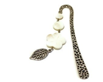 White Beaded Shell Bookmark, Perfect Gift for Teachers or Book Lovers
