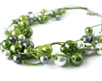 5 Strands Glass Pearl Necklace Hand Knotted on a Waxed Cotton Cord. Green, White and Gray.