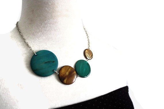 Geometric Jewelry, Chunky Teal and Brown Necklace in Peacock Colors with Shell and Wood Beads