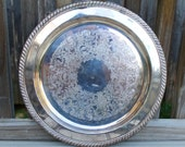 CLEARANCE Vintage silver plate round antique shabby chic