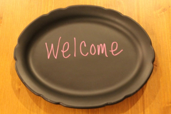 Upcycled chalk board painted plate Home Decor, Wedding, Birthday, Events etc