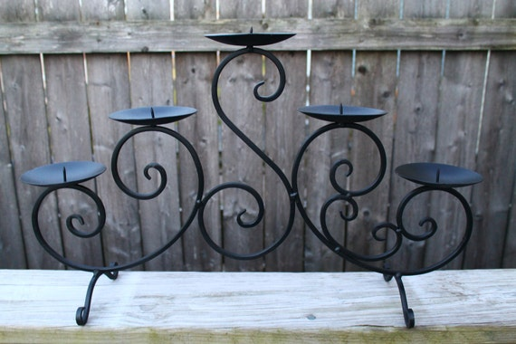 Upcycled Black Iron Candle Holder/ Fireplace Decor/Cupcake Display