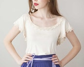 Organic Lace top- Cream 'Angel Top'