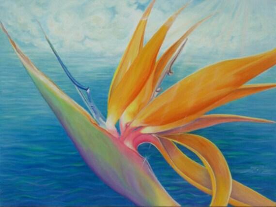 """Caribbean Paradise oil on canvas 40"""" x30"""" unframed painting by Georgina C Clarke"""