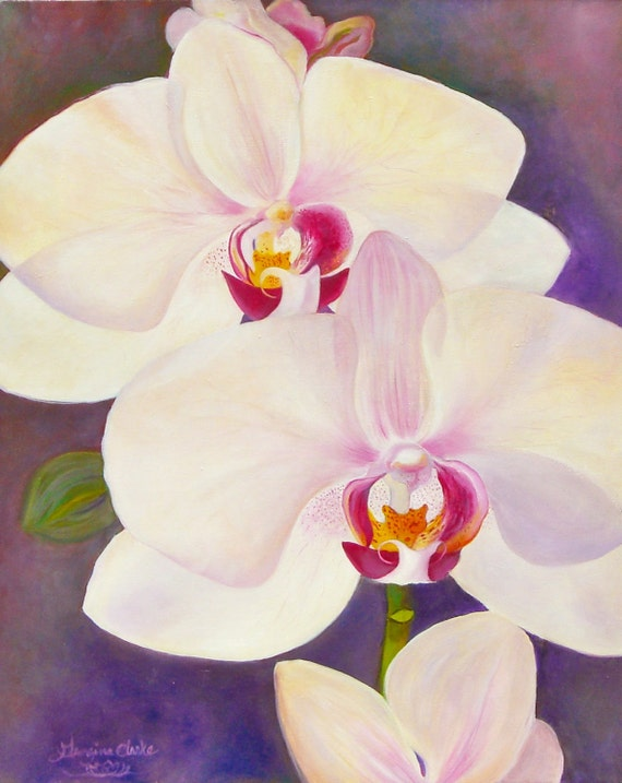 "Joan Irvine Smith Enchanting Orchid oil on canvas 24"" x 30"" Framed painting by Georgina C Clarke"