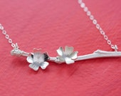 READY TO SHIP Sterling Silver Apple Tree Branch Necklace with Blossom Flowers