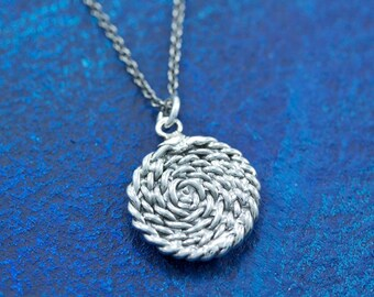 READY TO SHIP Sterling Silver Nautical Large Rope Coil Charm Pendant