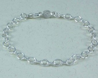 Sterling Silver Cable Charm Bracelet (charms not included)