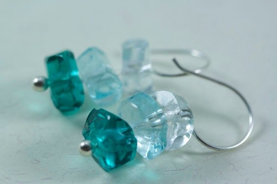 READY TO SHIP Turquoise Ombre Glass Bead Dangle Earrings