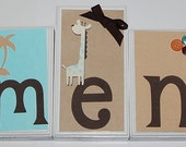 Five Letter Wood Block Name Set with Nail Slot to hang, M2M Oilo Raindrops Aqua Child's Room or Baby Nursery Room Decor