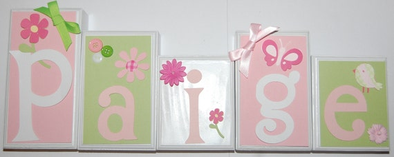 4 Letter Addison Pink and Green Name Wood Blocks Set