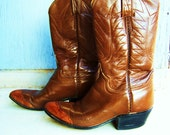 VIntage Snakes Skin Tipped Brown leather Cowboy Boots with Stitching 6 1/2 Women's 4 1/2 Men's
