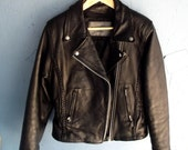 Black Leather Biker Jacket Vintage Metal and Zippers
